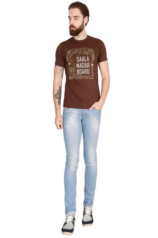 Brown Color Cotton Men T-Shirt - LeBison-48