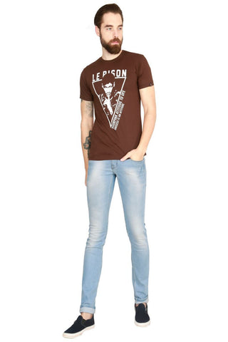 Brown Color Cotton Men T-Shirt - LeBison-49