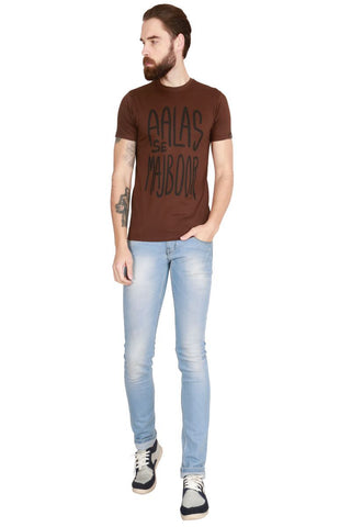 Brown Color Cotton Men T-Shirt - LeBison-50
