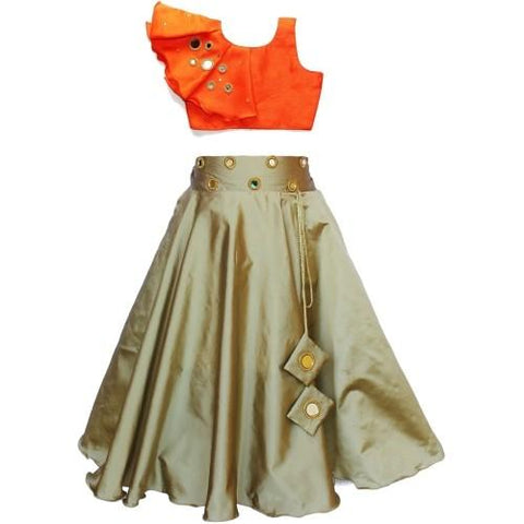 Orange and Chiku Corlor Taffet Silk Stitched Gown - Lehenga102