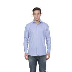 Buy Light Blue Color Cotton Blend Slim Fit Shirts
