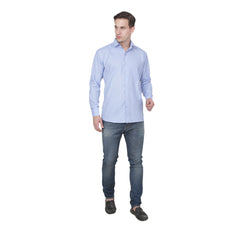 Light Blue Color Cotton Blend Slim Fit Shirts - LightBlue-shirtsNew