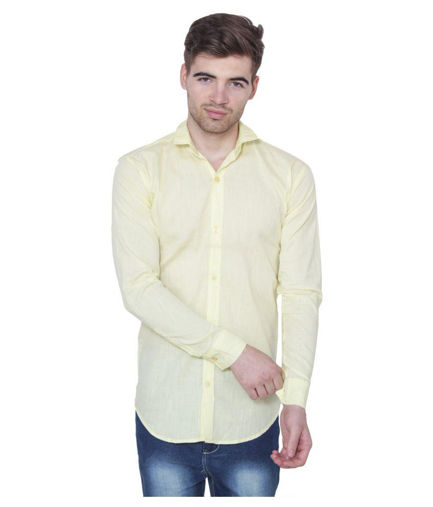 Buy Light Yellow Color Cotton Blend Slim Fit Shirts
