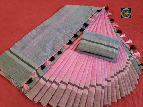 Pink Color Linen Silk Saree - Linen-Pink