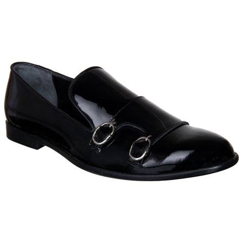 LOZANO Black Color Patent Leather Mens Casual  Slip-On Shoes - Lozano-13