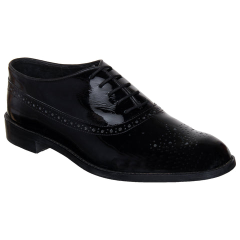 LOZANO Black Color Patent Leather Mens Formal  Brogues - Lozano-14