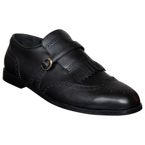 LOZANO Black Color Leather Mens Casual Brogues - Lozano-1