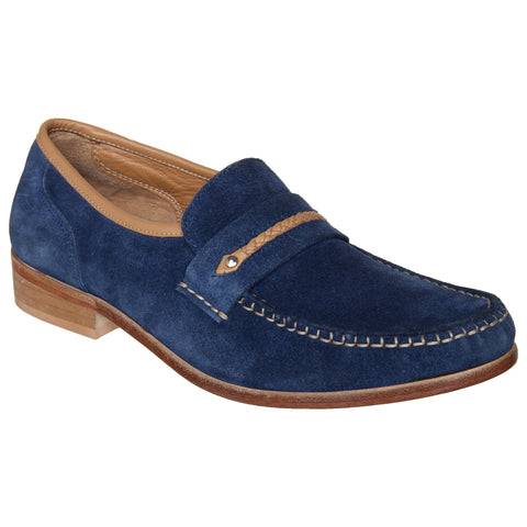 LOZANO Blue Color Leather Mens Casual Slip-On Shoes - Lozano-32