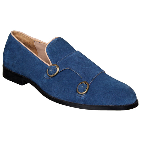 LOZANO Blue Color Leather Mens Casual Slip-On Shoes - Lozano-33