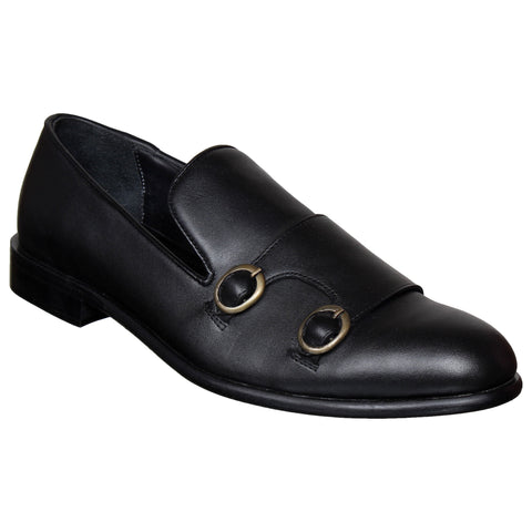 LOZANO Black Color Leather Mens Casual Slip-On Shoes - Lozano-3