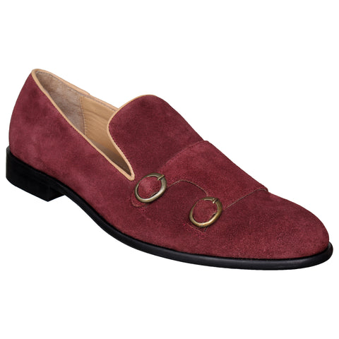 LOZANO Maroon Color Suede Mens Formal Slip-On Shoes - Lozano-47