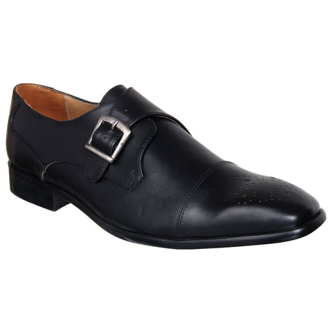 LOZANO Black Color Leather Mens Formal Monk Shoes - Lozano-4