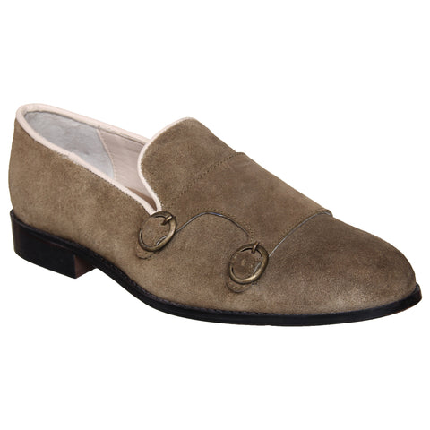 LOZANO Olive Color Suede Mens Formal Slip-On Shoes - Lozano-57