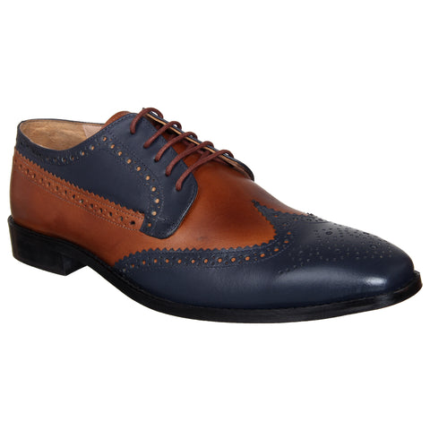 LOZANO Tan And Blue Color Leather Mens Formal Derbys - Lozano-58