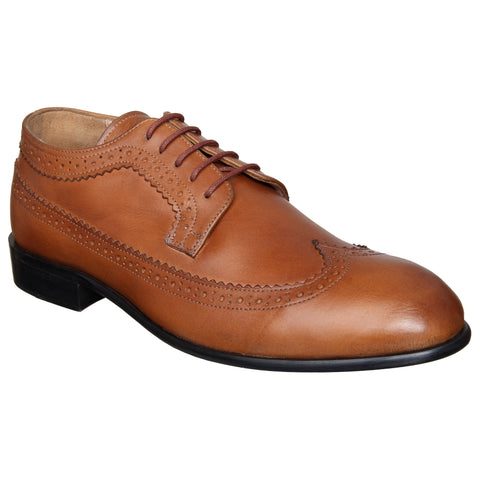 LOZANO Tan Brown Color Leather Mens Formal Brogues - Lozano-60