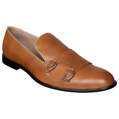 LOZANO Tan Brown Color Leather Mens Formal Monk Shoes - Lozano-62
