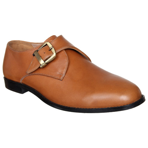 LOZANO Tan Brown Color Leather Mens Formal Monk Shoes - Lozano-63