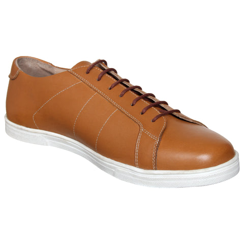 LOZANO Tan Brown Color Leather Mens Formal Derbys - Lozano-64