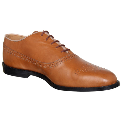 LOZANO Tan Brown Color Leather Mens Formal Brogues - Lozano-65