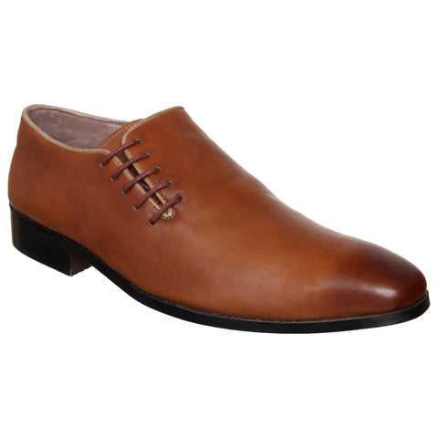 LOZANO Tan Brown Color Leather Mens Formal Oxfords - Lozano-66