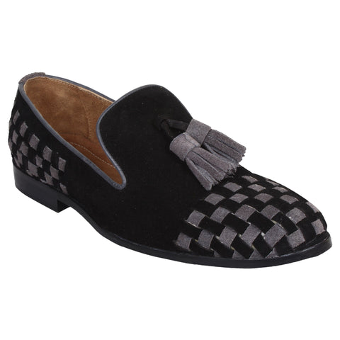 LOZANO Black Color Leather Mens Casual  Slip-On Shoes - Lozano-71