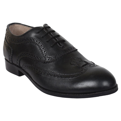 LOZANO Black Color Leather Mens Formal  Brogues - Lozano-72