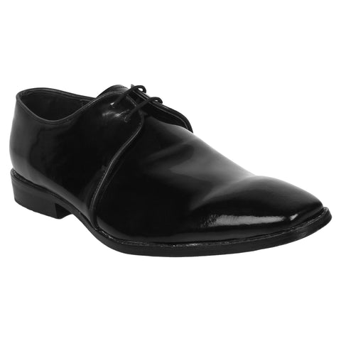 LOZANO Black Color Patent Leather Mens Formal Derbys - Lozano-74