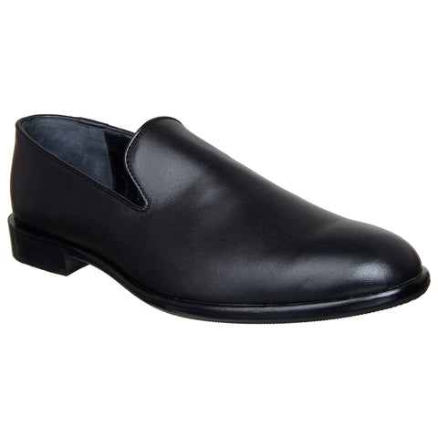 LOZANO Black Color Leather Mens Casual Slip-On Shoes - Lozano-7