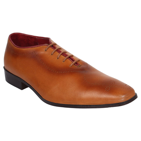 LOZANO Brown Color Leather Mens Formal Brogues - Lozano-82