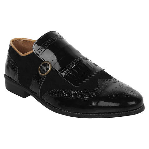 LOZANO Black Color Patent Leather Mens Casual Slip-On Shoes - Lozano-84