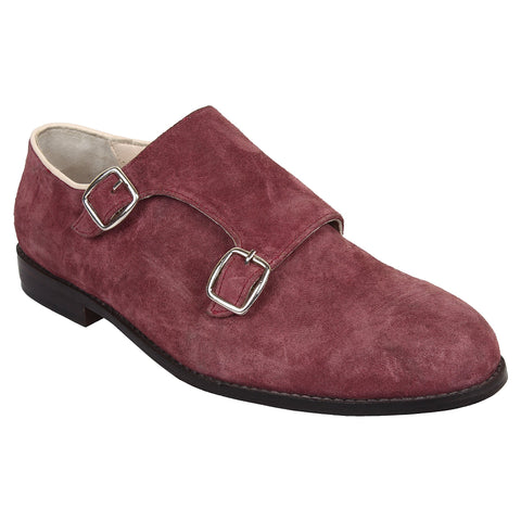 LOZANO Maroon Color Suede Mens Formal Monk Shoes - Lozano-85