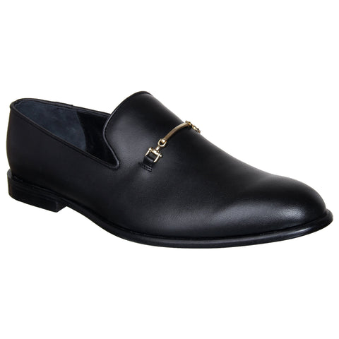 LOZANO Black Color Leather Mens Casual Slip-On Shoes - Lozano-8