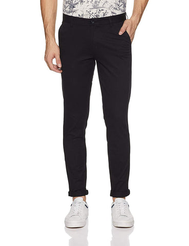 Black Color Cotton Mens Chinos - M-Chino-LBRN-1