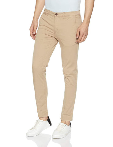 Light Beige Color Cotton Mens Chinos - M-Chino-LBRN