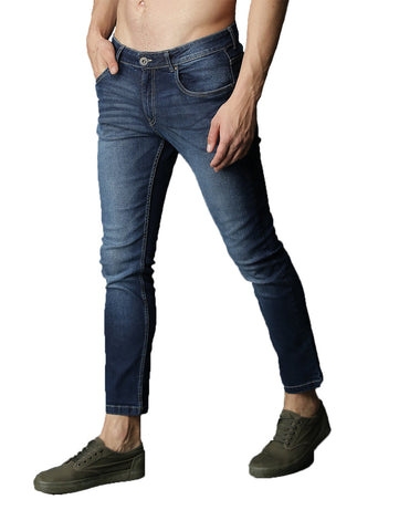 Dark Blue Color Denim Fadded Mens Jeans - M-JNS-6991-DBLU