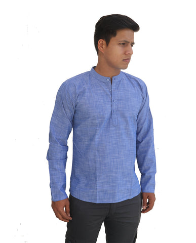 Light Blue Color Linnen Mens Short Kurta - M-Short-Kurta-LightBlue