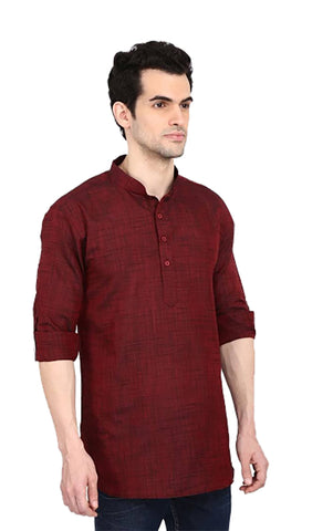Red Color Linnen Mens Short Kurta - M-Short-Kurta-RD