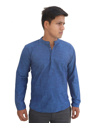 Sea Blue Color Linnen Mens Short Kurta - M-Short-Kurta-SeaBlue