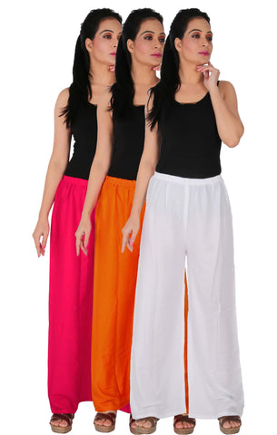Pack Of 3 Rayon Palazzos - M1OW