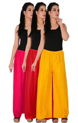 Pack Of 3 Rayon Palazzos - M1RY