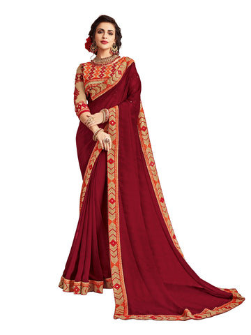Maroon  Color Georgette Saree - MA11509