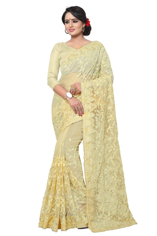 Cream Color Net Saree - MADHUBALA-303