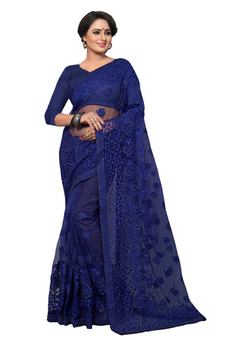 Blue Color Net Saree - MADHUBALA-309