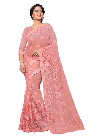Peach Color Net Saree - MADHUBALA-312