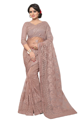 Grey Color Net Saree - MADHUBALA-313