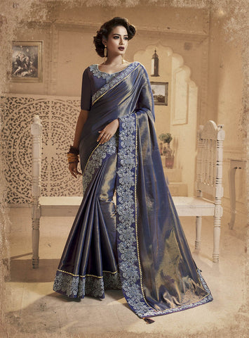 Navy Blue Color Erode Heavy Silk Saree  - MADONA-10664