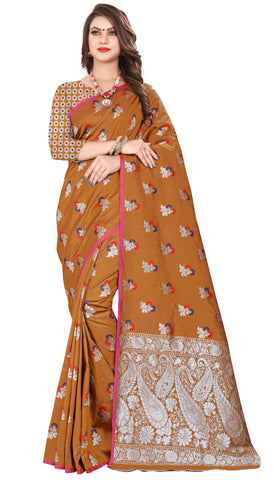 Brown Color Banarasi Silk Women's Saree - MALISHKA-68