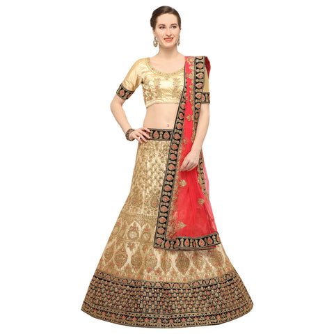 Beige Color Silk Semi Stitched Lehenga - MANIKARNIKA30101