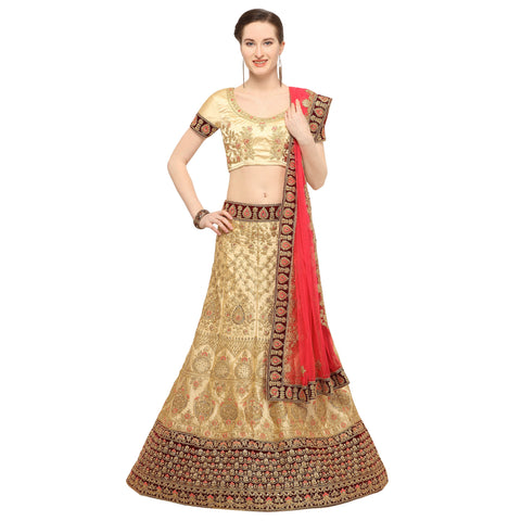 Beige Color Silk Semi Stitched Lehenga - MANIKARNIKA30102