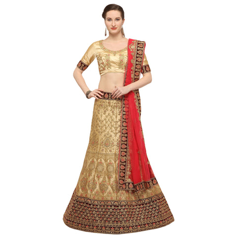 Beige Color Silk Semi Stitched Lehenga - MANIKARNIKA30103
